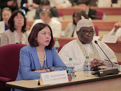 His Royal Majesty King Adedapo Adeen Aderemi (right) and Jing Zhao Cesarone, the Executive Chairperson of the Conference and CEO of Global CSR Foundation (left) listening to the speakers